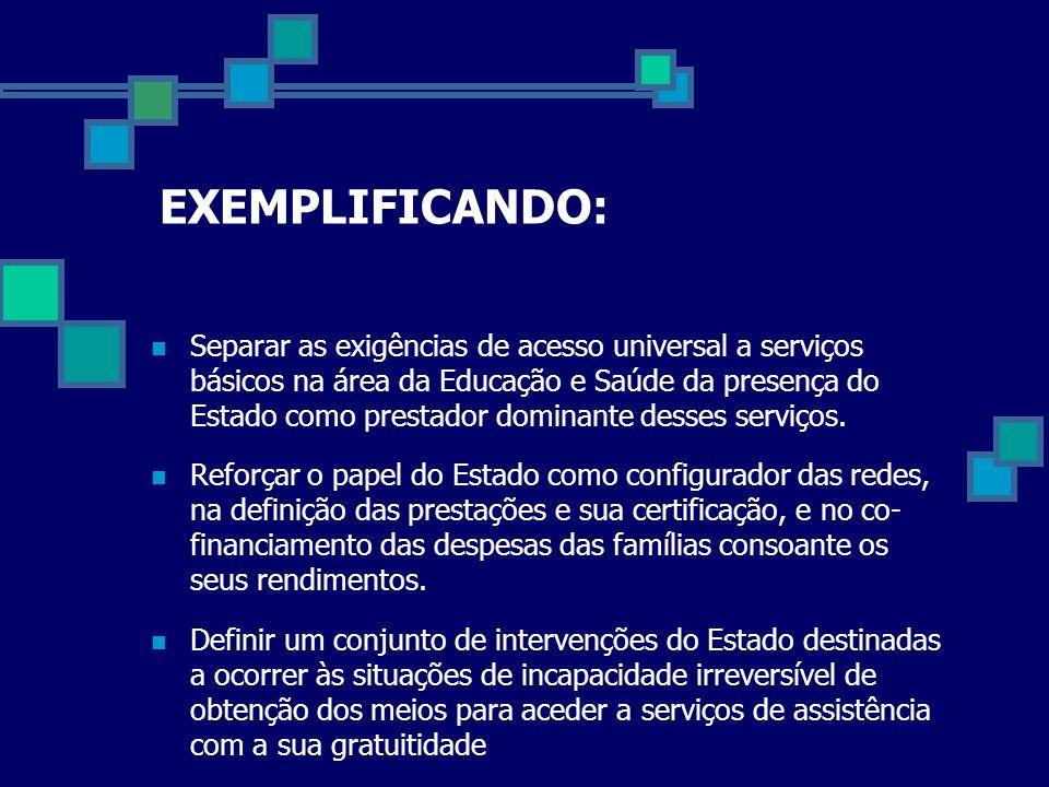 EXEMPLIFICANDO: Separar as exigências de acesso universal a serviços básicos na área da Educação e Saúde da presença do Estado como prestador dominant