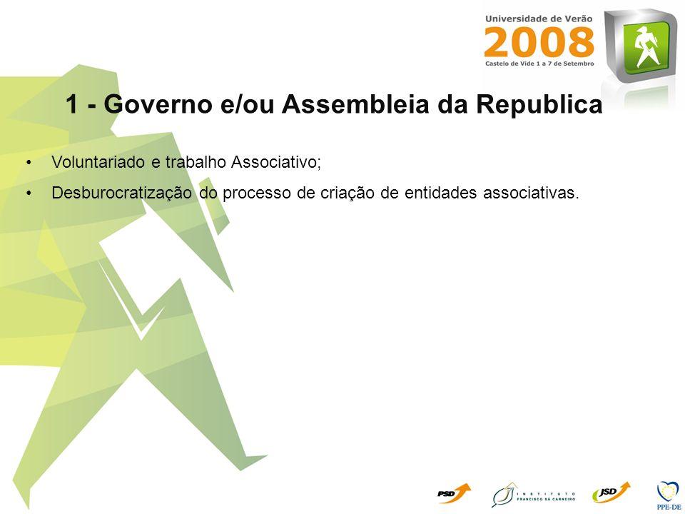 1 - Governo e/ou Assembleia da Republica Voluntariado e trabalho Associativo; Desburocratização do processo de criação de entidades associativas.
