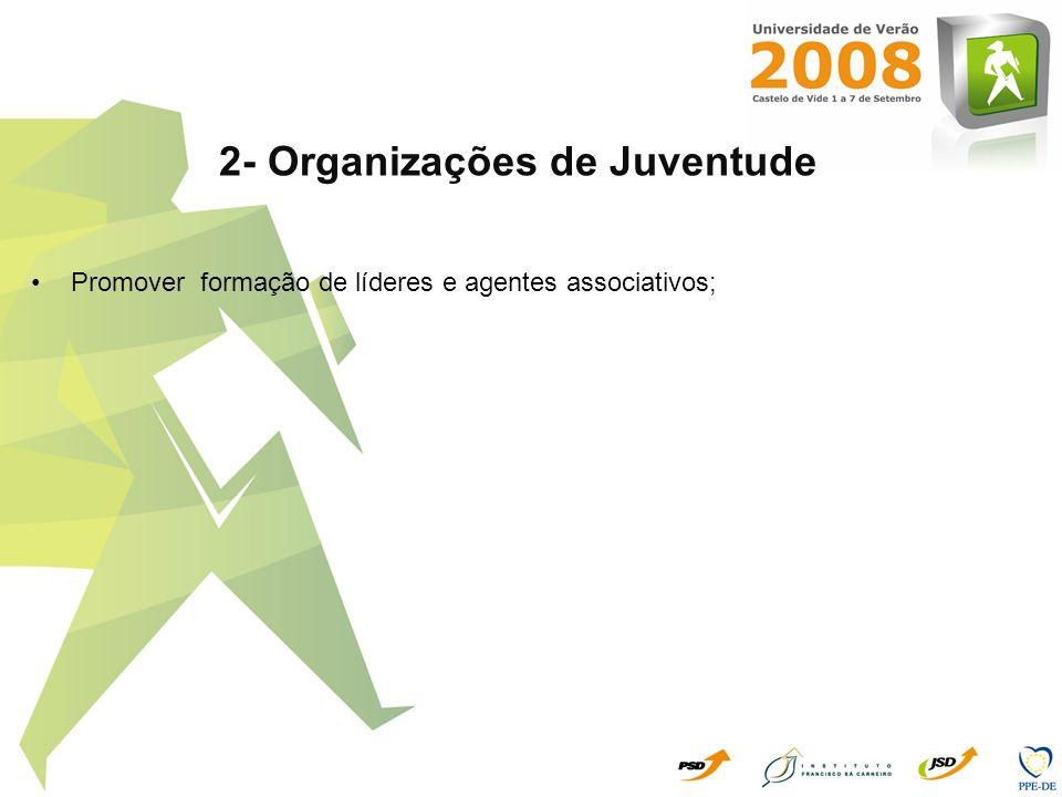 2- Organizações de Juventude Promover formação de líderes e agentes associativos;