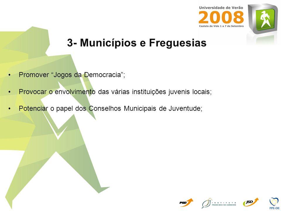 3- Municípios e Freguesias Promover Jogos da Democracia; Provocar o envolvimento das várias instituições juvenis locais; Potenciar o papel dos Conselh