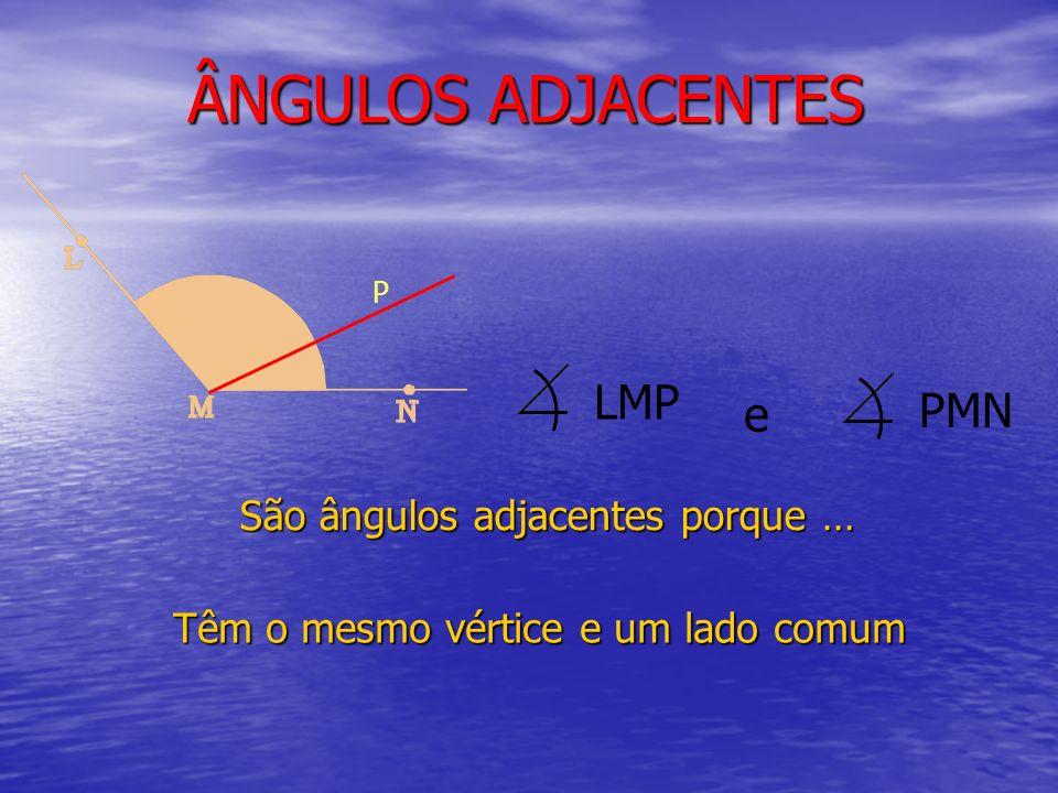 ÂNGULOS ADJACENTES São ângulos adjacentes porque … LMP P PMN e Têm o mesmo vértice e um lado comum