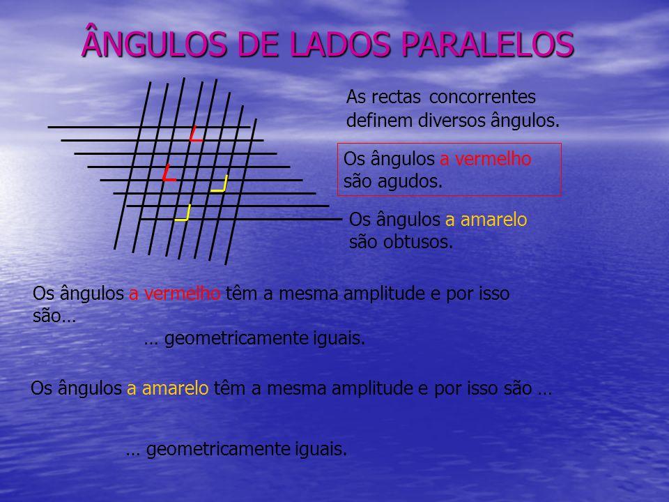 ÂNGULOS DE LADOS PARALELOS As rectas concorrentes definem diversos ângulos.