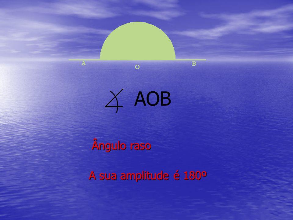 Ângulo raso A sua amplitude é 180º AOB
