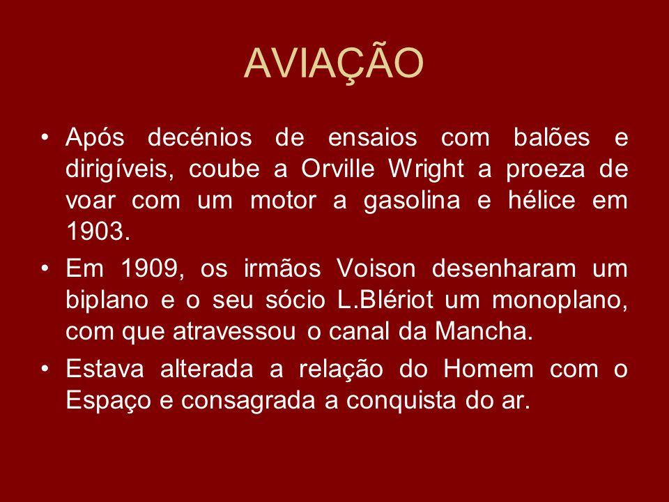 AVIAÇÃO Após decénios de ensaios com balões e dirigíveis, coube a Orville Wright a proeza de voar com um motor a gasolina e hélice em 1903. Em 1909, o
