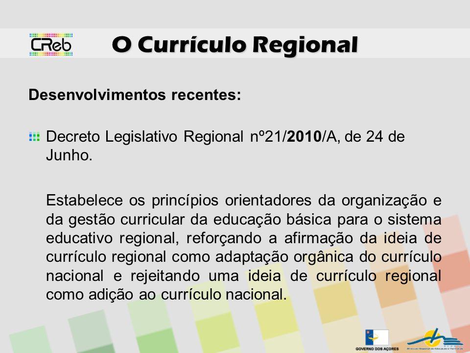 O Currículo Regional Desenvolvimentos recentes: Decreto Legislativo Regional nº21/2010/A, de 24 de Junho. Estabelece os princípios orientadores da org