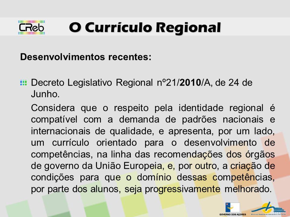 O Currículo Regional Desenvolvimentos recentes: Decreto Legislativo Regional nº21/2010/A, de 24 de Junho. Considera que o respeito pela identidade reg