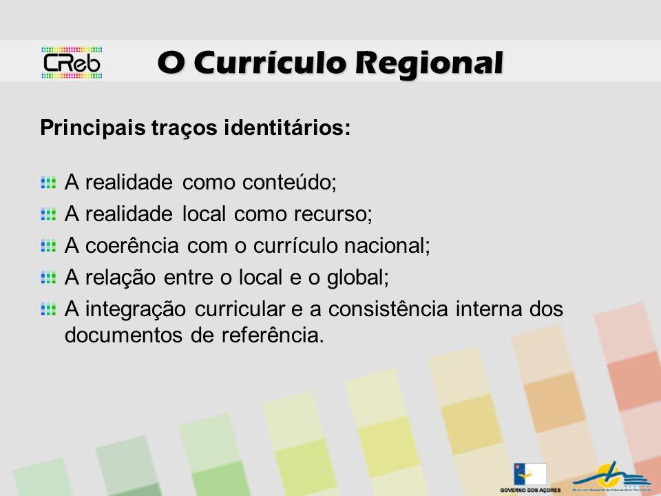 O Currículo Regional Principais traços identitários: A realidade como conteúdo; A realidade local como recurso; A coerência com o currículo nacional;