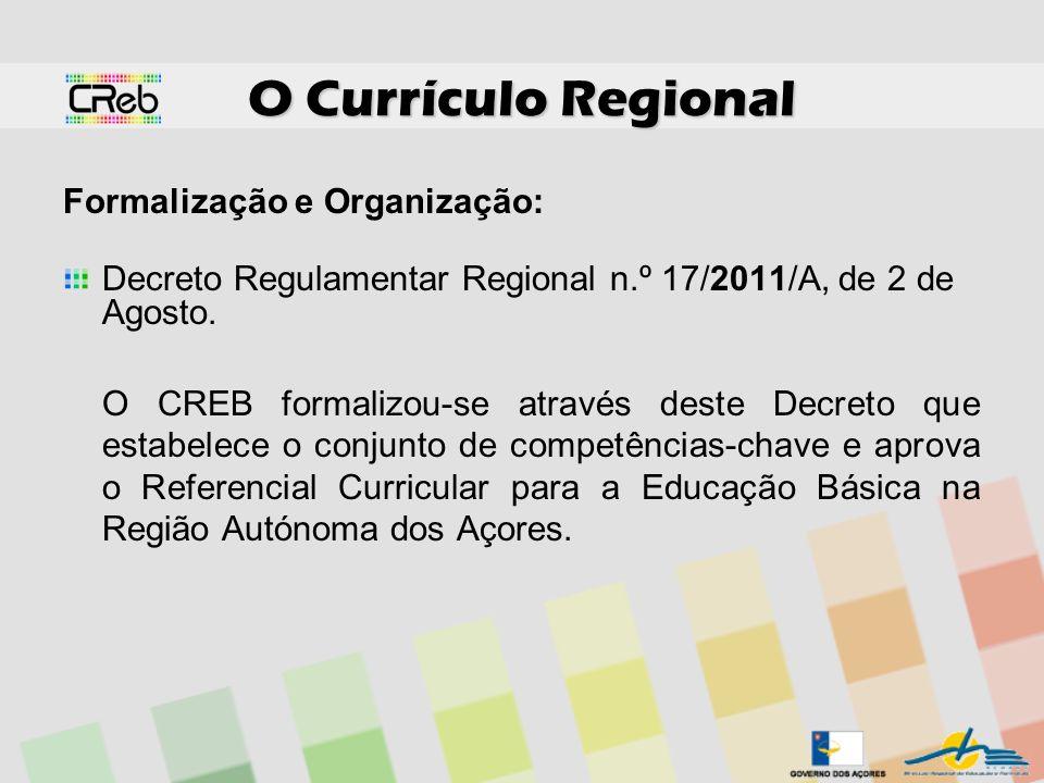 O Currículo Regional Formalização e Organização: Decreto Regulamentar Regional n.º 17/2011/A, de 2 de Agosto. O CREB formalizou-se através deste Decre
