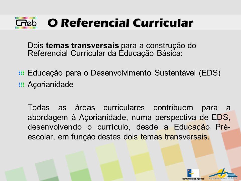 O Referencial Curricular Dois temas transversais para a construção do Referencial Curricular da Educação Básica: Educação para o Desenvolvimento Suste