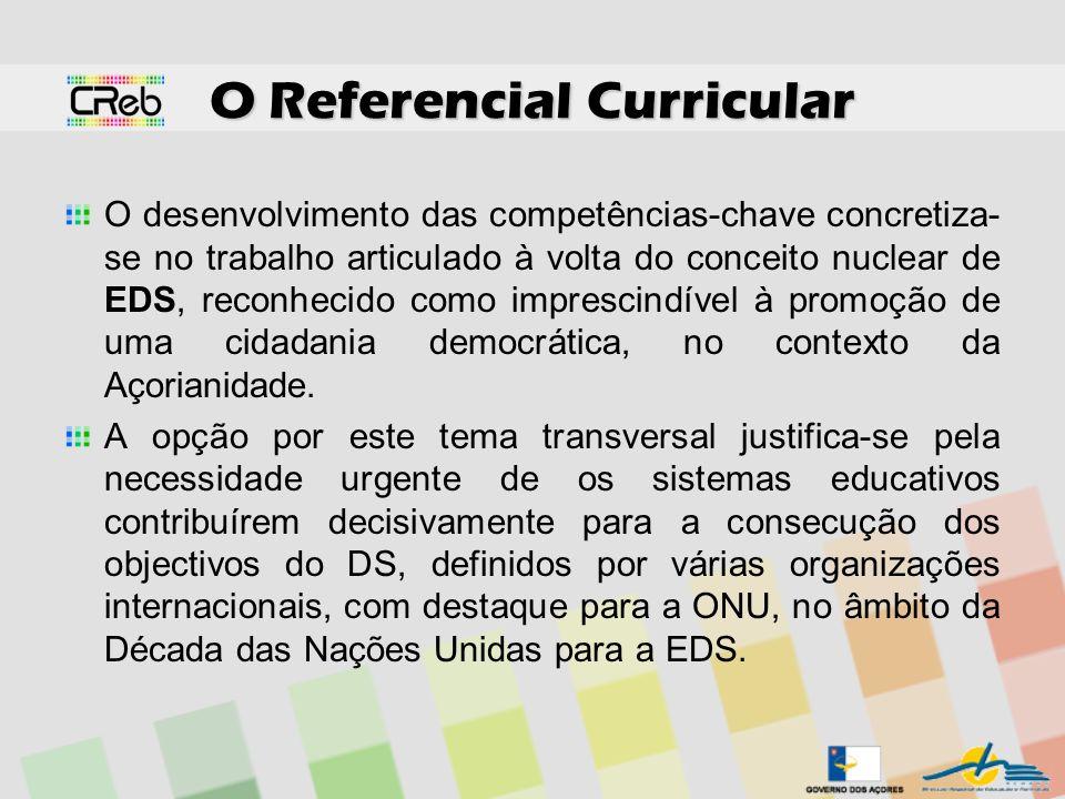 O Referencial Curricular O desenvolvimento das competências-chave concretiza- se no trabalho articulado à volta do conceito nuclear de EDS, reconhecid