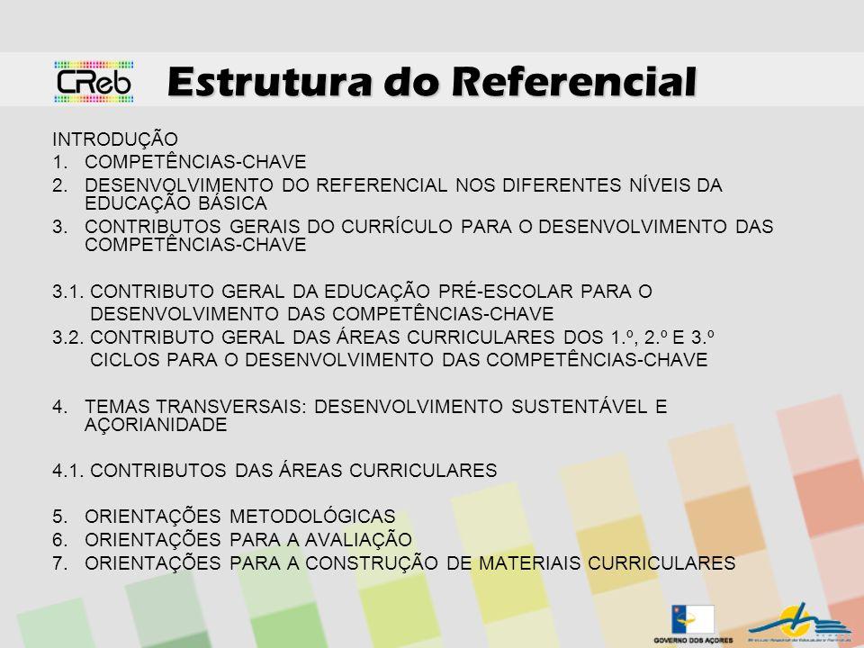 Estrutura do Referencial INTRODUÇÃO 1.COMPETÊNCIAS-CHAVE 2.DESENVOLVIMENTO DO REFERENCIAL NOS DIFERENTES NÍVEIS DA EDUCAÇÃO BÁSICA 3.CONTRIBUTOS GERAI