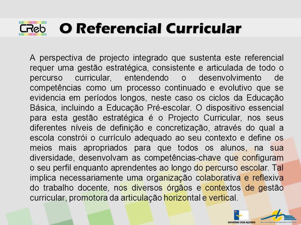 O Referencial Curricular A perspectiva de projecto integrado que sustenta este referencial requer uma gestão estratégica, consistente e articulada de