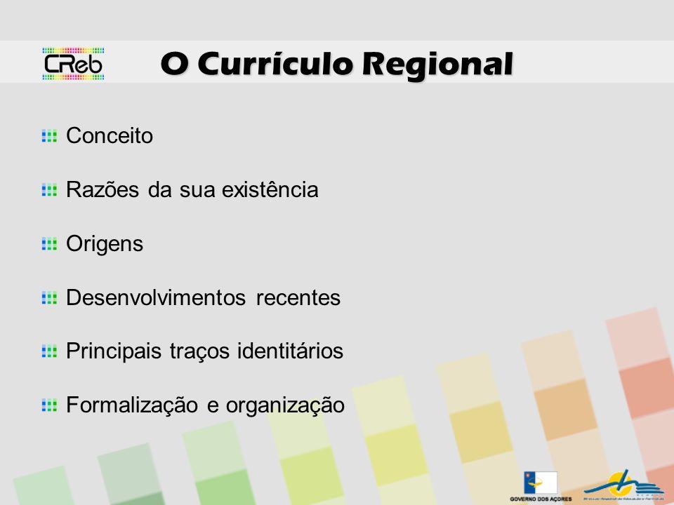O Currículo Regional Conceito Razões da sua existência Origens Desenvolvimentos recentes Principais traços identitários Formalização e organização