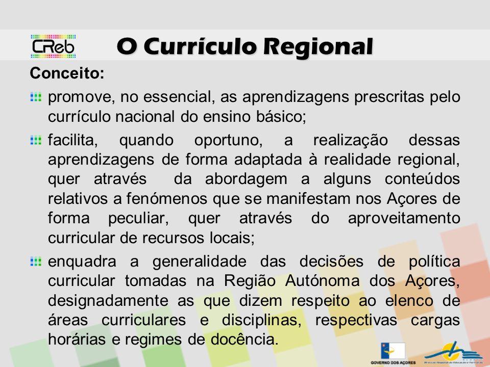 O Currículo Regional Conceito: promove, no essencial, as aprendizagens prescritas pelo currículo nacional do ensino básico; facilita, quando oportuno,