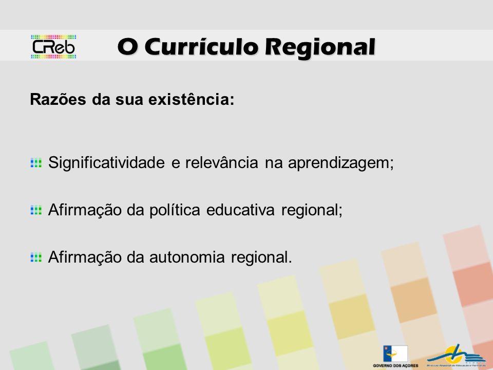 O Currículo Regional Razões da sua existência: Significatividade e relevância na aprendizagem; Afirmação da política educativa regional; Afirmação da