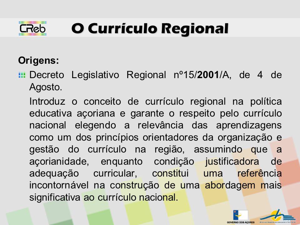 O Currículo Regional Origens: Decreto Legislativo Regional nº15/2001/A, de 4 de Agosto. Introduz o conceito de currículo regional na política educativ