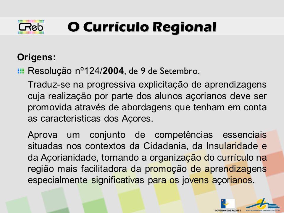 O Currículo Regional Origens: Resolução nº124/2004, de 9 de Setembro. Traduz-se na progressiva explicitação de aprendizagens cuja realização por parte