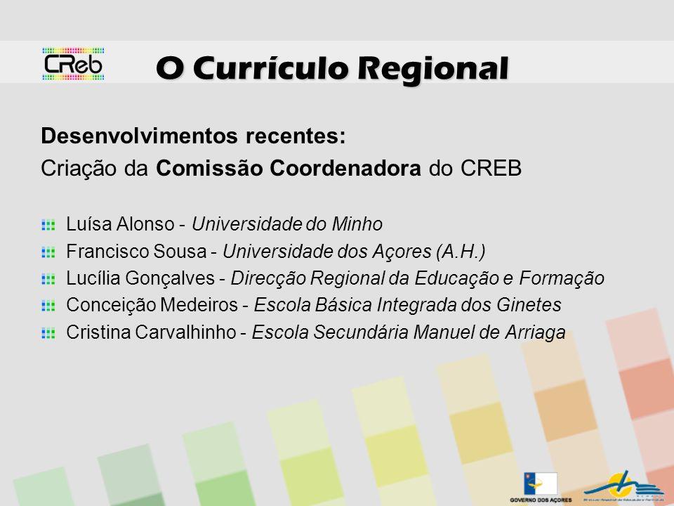 O Currículo Regional Desenvolvimentos recentes: Criação da Comissão Coordenadora do CREB Luísa Alonso - Universidade do Minho Francisco Sousa - Univer