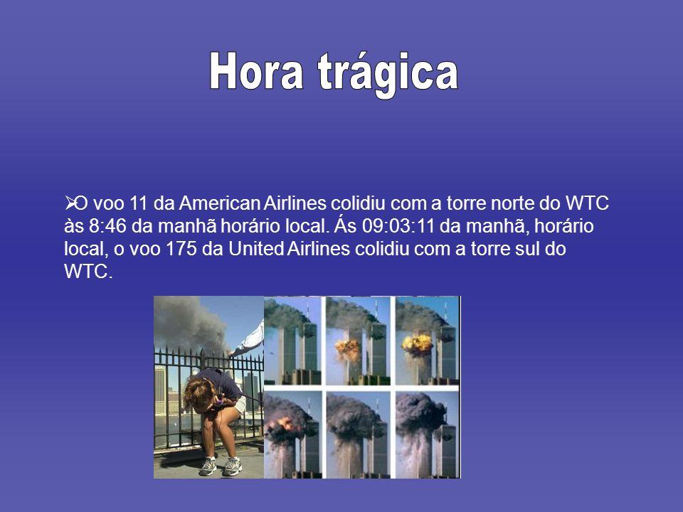 O voo 11 da American Airlines colidiu com a torre norte do WTC às 8:46 da manhã horário local. Ás 09:03:11 da manhã, horário local, o voo 175 da Unite