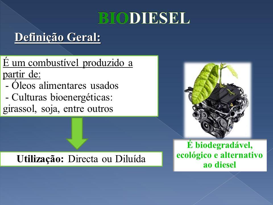 Definição Geral: É um combustível produzido a partir de: - Óleos alimentares usados - Culturas bioenergéticas: girassol, soja, entre outros Utilização