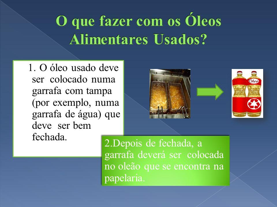 1. O óleo usado deve ser colocado numa garrafa com tampa (por exemplo, numa garrafa de água) que deve ser bem fechada. 2.Depois de fechada, a garrafa