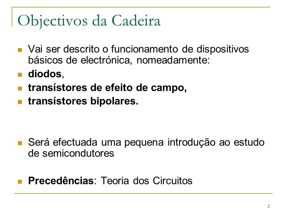 3 Objectivos da Cadeira Vai ser descrito o funcionamento de dispositivos básicos de electrónica, nomeadamente: diodos, transístores de efeito de campo