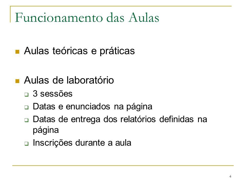4 Funcionamento das Aulas Aulas teóricas e práticas Aulas de laboratório 3 sessões Datas e enunciados na página Datas de entrega dos relatórios defini