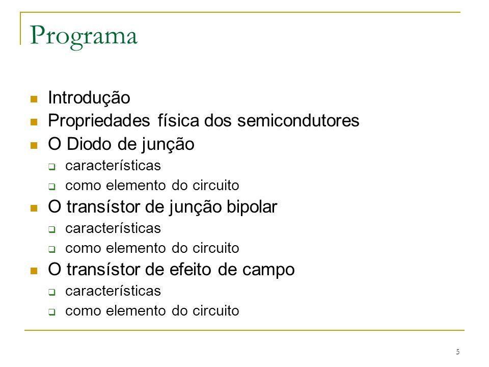 5 Programa Introdução Propriedades física dos semicondutores O Diodo de junção características como elemento do circuito O transístor de junção bipola