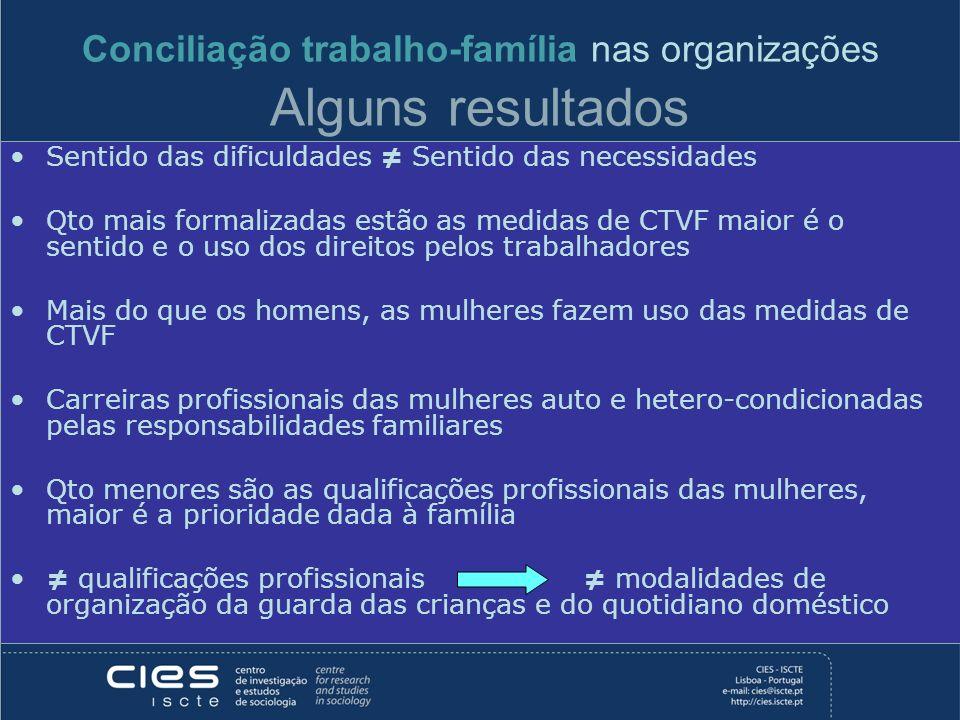 Conciliação trabalho-família nas organizações Alguns resultados Sentido das dificuldades Sentido das necessidades Qto mais formalizadas estão as medid
