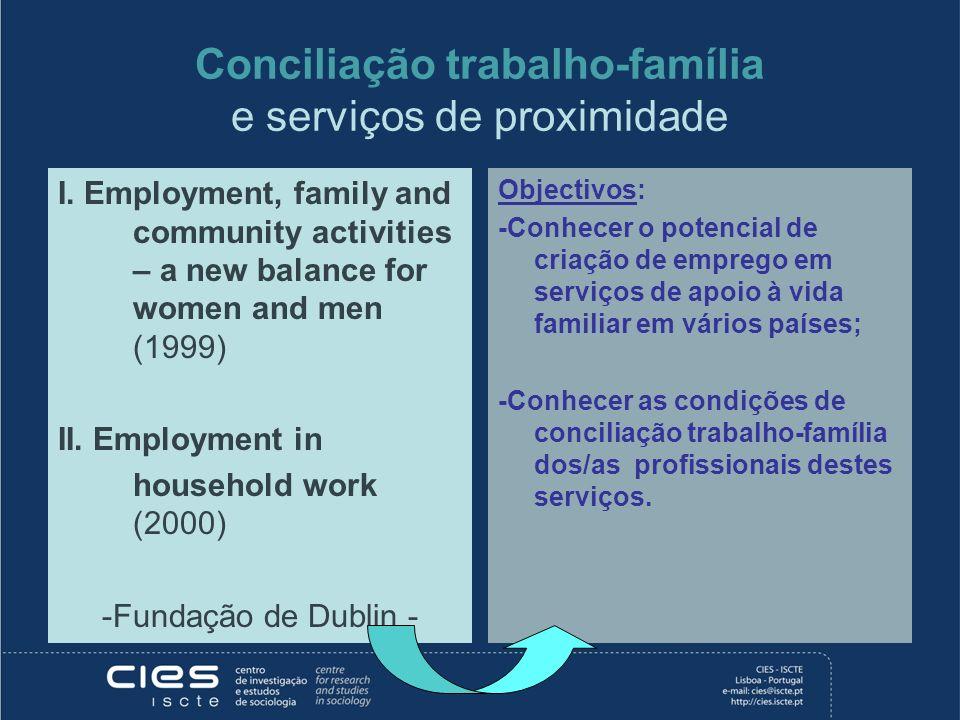 Conciliação trabalho-família e serviços de proximidade I. Employment, family and community activities – a new balance for women and men (1999) II. Emp