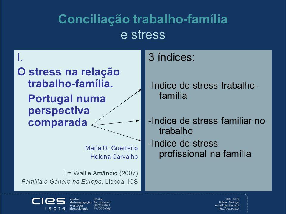 Conciliação trabalho-família e stress I. O stress na relação trabalho-família. Portugal numa perspectiva comparada Maria D. Guerreiro Helena Carvalho