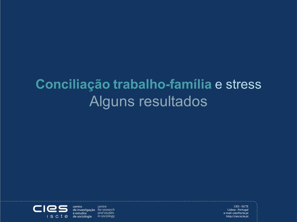 Conciliação trabalho-família e stress Alguns resultados
