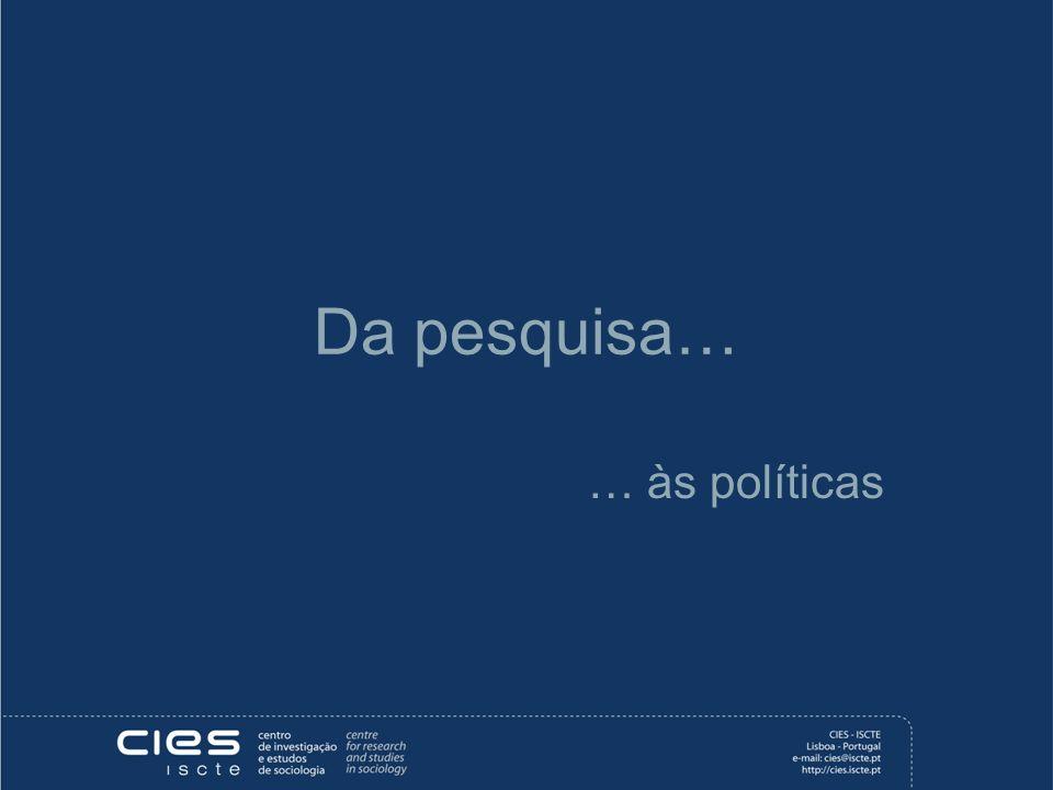 Da pesquisa… … às políticas