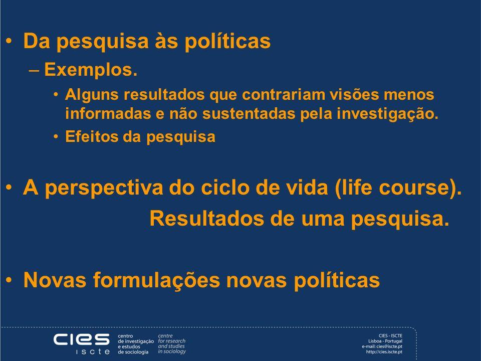 Da pesquisa às políticas –Exemplos. Alguns resultados que contrariam visões menos informadas e não sustentadas pela investigação. Efeitos da pesquisa