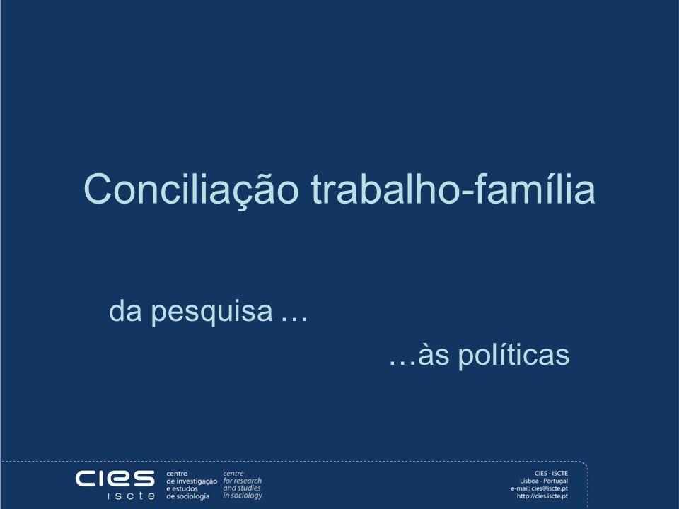 Conciliação trabalho-família da pesquisa … …às políticas