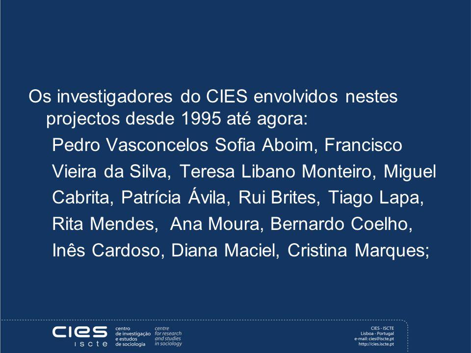 Os investigadores do CIES envolvidos nestes projectos desde 1995 até agora: Pedro Vasconcelos Sofia Aboim, Francisco Vieira da Silva, Teresa Libano Mo