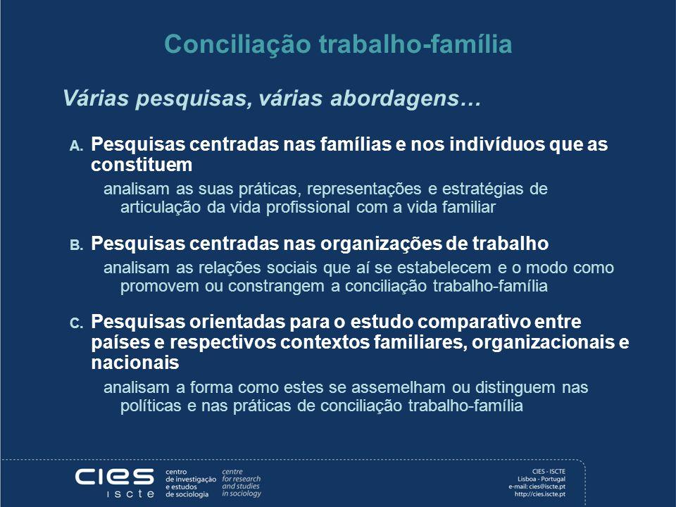 Conciliação trabalho-família Várias pesquisas, várias abordagens… A. Pesquisas centradas nas famílias e nos indivíduos que as constituem analisam as s