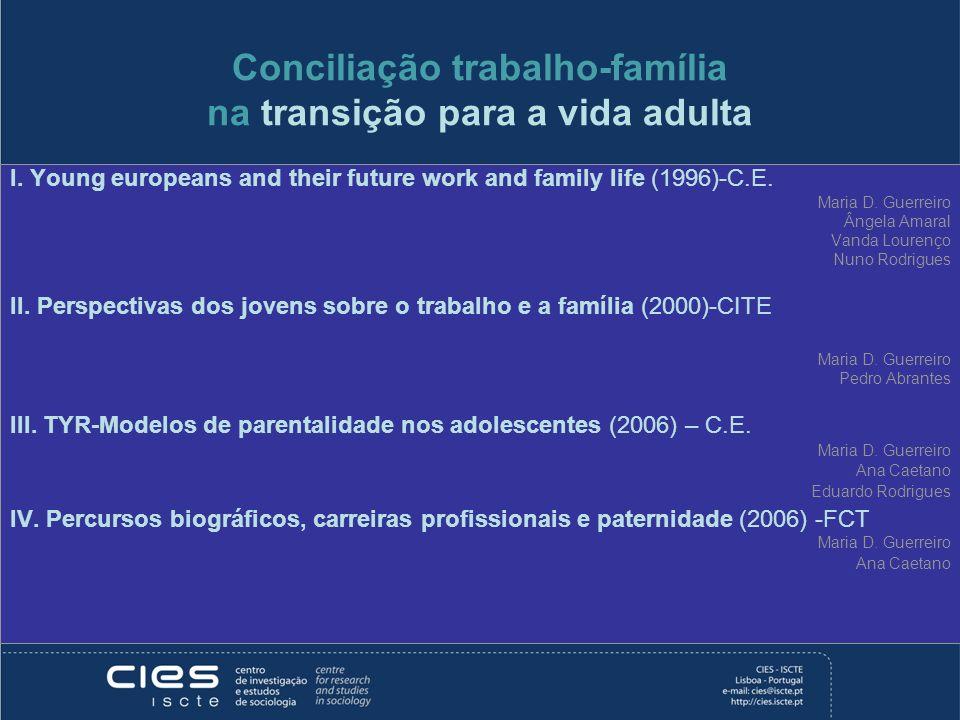 Conciliação trabalho-família na transição para a vida adulta I. Young europeans and their future work and family life (1996)-C.E. Maria D. Guerreiro Â