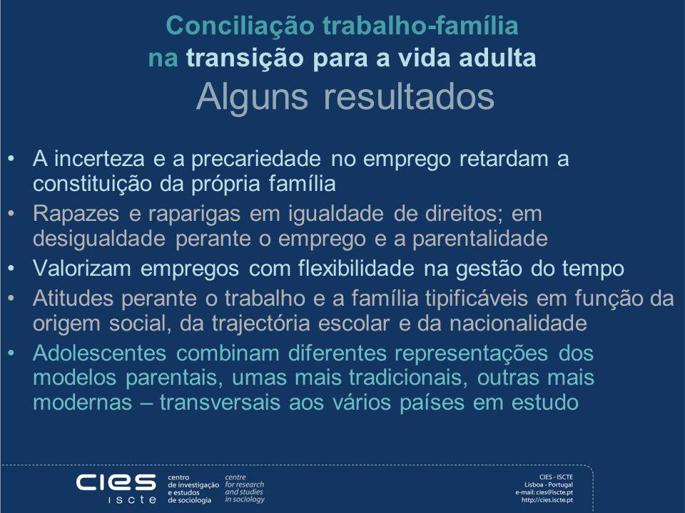 Conciliação trabalho-família na transição para a vida adulta Alguns resultados A incerteza e a precariedade no emprego retardam a constituição da próp