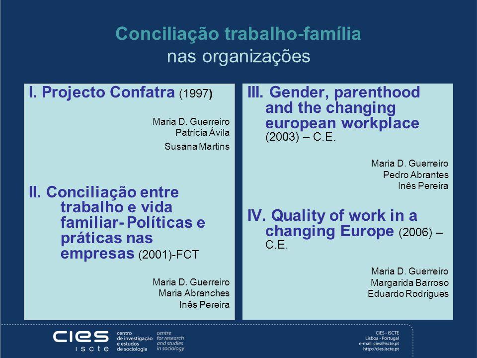 Conciliação trabalho-família nas organizações I. Projecto Confatra (1997) Maria D. Guerreiro Patrícia Ávila Susana Martins II. Conciliação entre traba
