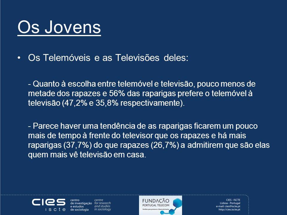 Os Jovens Os Telemóveis e as Televisões deles: - Quanto à escolha entre telemóvel e televisão, pouco menos de metade dos rapazes e 56% das raparigas prefere o telemóvel à televisão (47,2% e 35,8% respectivamente).