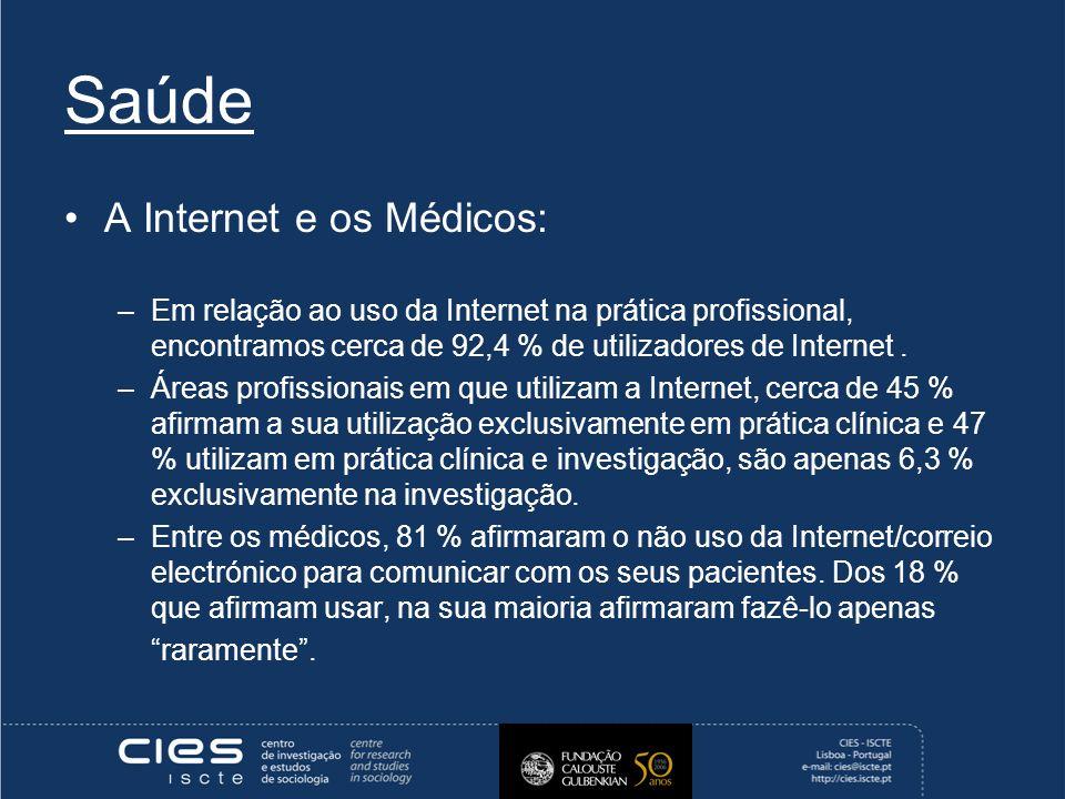 Saúde A Internet e os Médicos: –Em relação ao uso da Internet na prática profissional, encontramos cerca de 92,4 % de utilizadores de Internet.