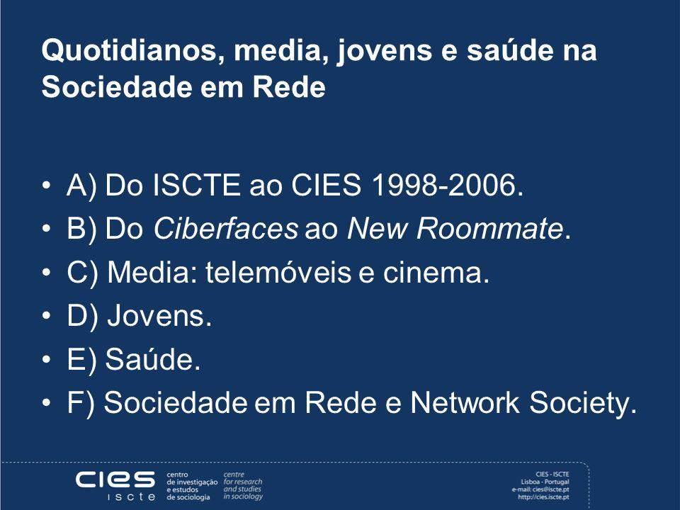 Quotidianos, media, jovens e saúde na Sociedade em Rede A) Do ISCTE ao CIES 1998-2006.
