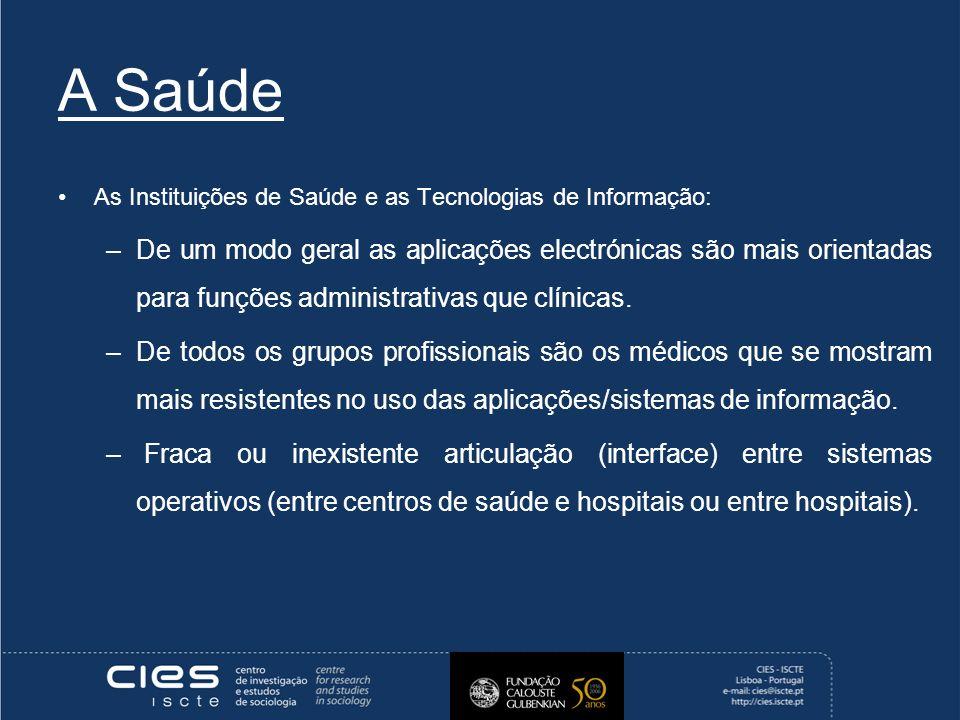 A Saúde As Instituições de Saúde e as Tecnologias de Informação: –De um modo geral as aplicações electrónicas são mais orientadas para funções administrativas que clínicas.