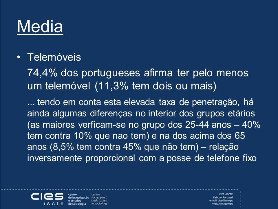 Media Telemóveis 74,4% dos portugueses afirma ter pelo menos um telemóvel (11,3% tem dois ou mais)...