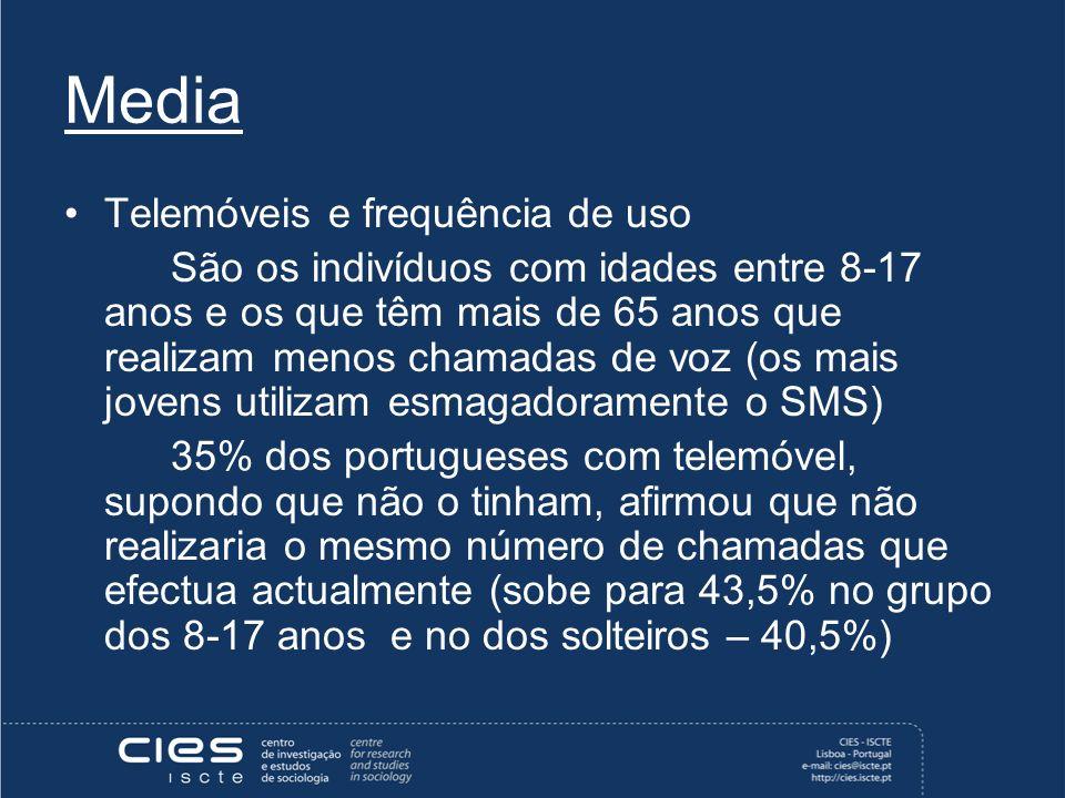 Media Telemóveis e frequência de uso São os indivíduos com idades entre 8-17 anos e os que têm mais de 65 anos que realizam menos chamadas de voz (os mais jovens utilizam esmagadoramente o SMS) 35% dos portugueses com telemóvel, supondo que não o tinham, afirmou que não realizaria o mesmo número de chamadas que efectua actualmente (sobe para 43,5% no grupo dos 8-17 anos e no dos solteiros – 40,5%)