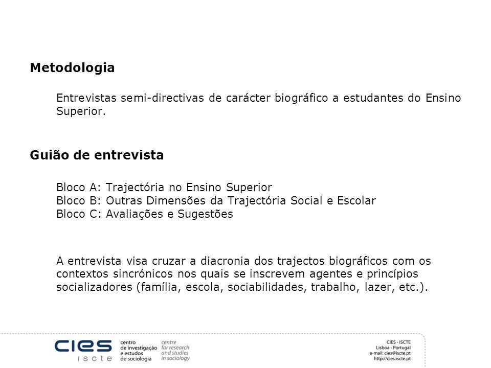 Metodologia Entrevistas semi-directivas de carácter biográfico a estudantes do Ensino Superior. Guião de entrevista Bloco A: Trajectória no Ensino Sup
