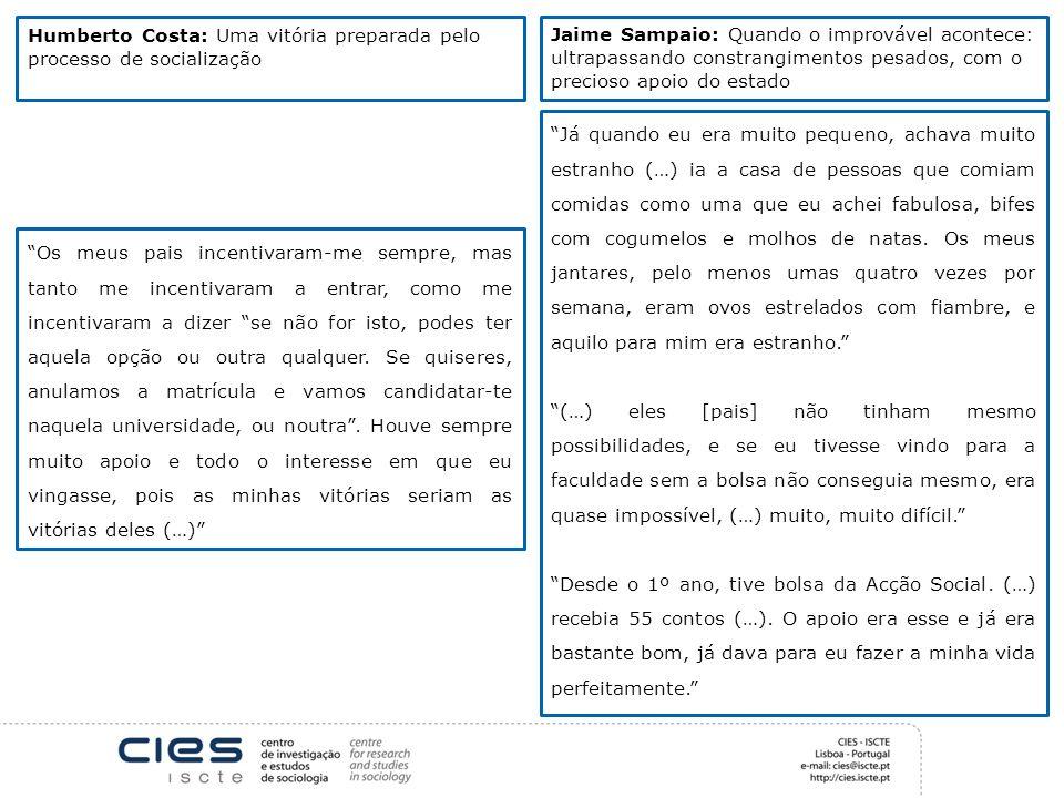 Humberto Costa: Uma vitória preparada pelo processo de socialização Jaime Sampaio: Quando o improvável acontece: ultrapassando constrangimentos pesado