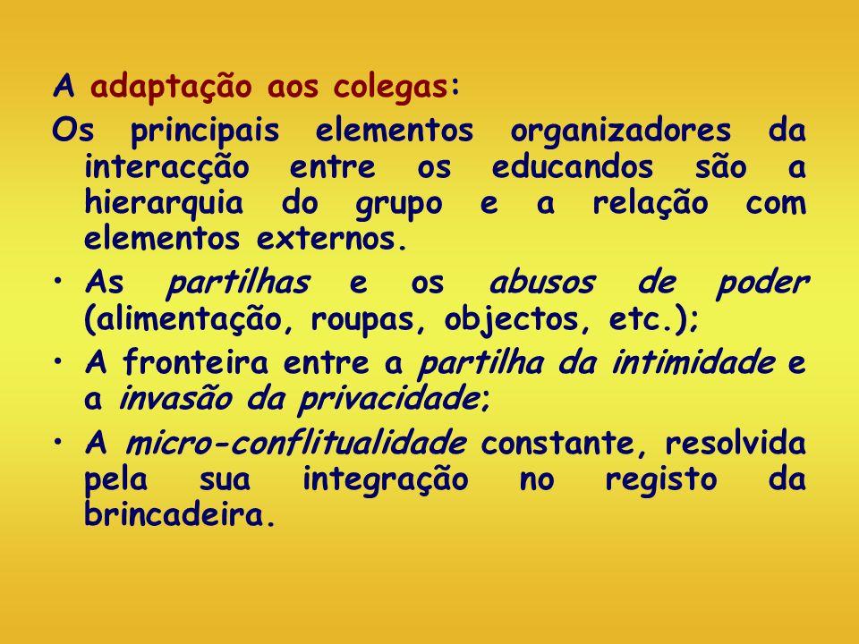 A adaptação aos colegas: Os principais elementos organizadores da interacção entre os educandos são a hierarquia do grupo e a relação com elementos ex
