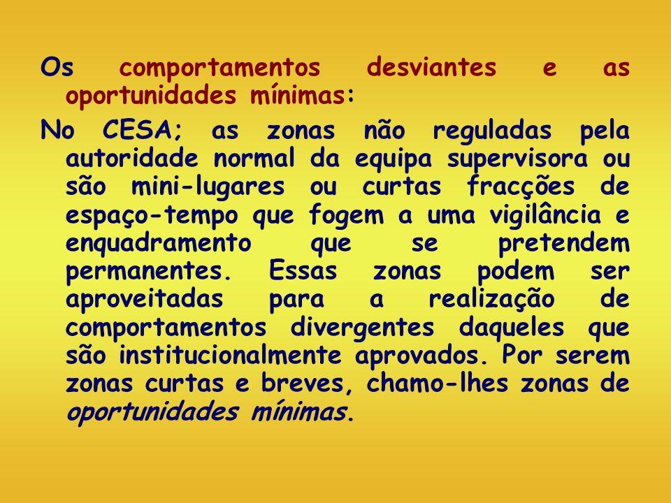 Os comportamentos desviantes e as oportunidades mínimas: No CESA; as zonas não reguladas pela autoridade normal da equipa supervisora ou são mini-luga